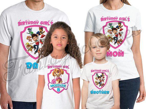 Paw Patrol Shirt Add Name Age Birthday Party TShirt Personalized Birthda