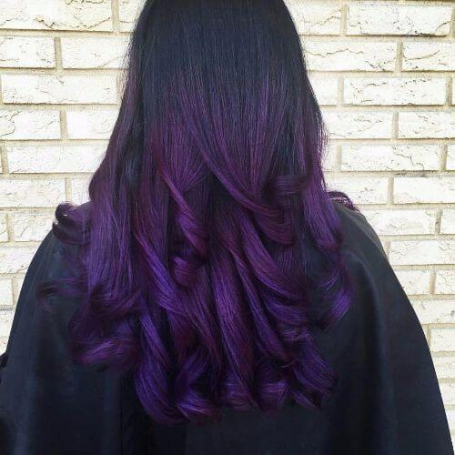 dark purple ombre on long hair