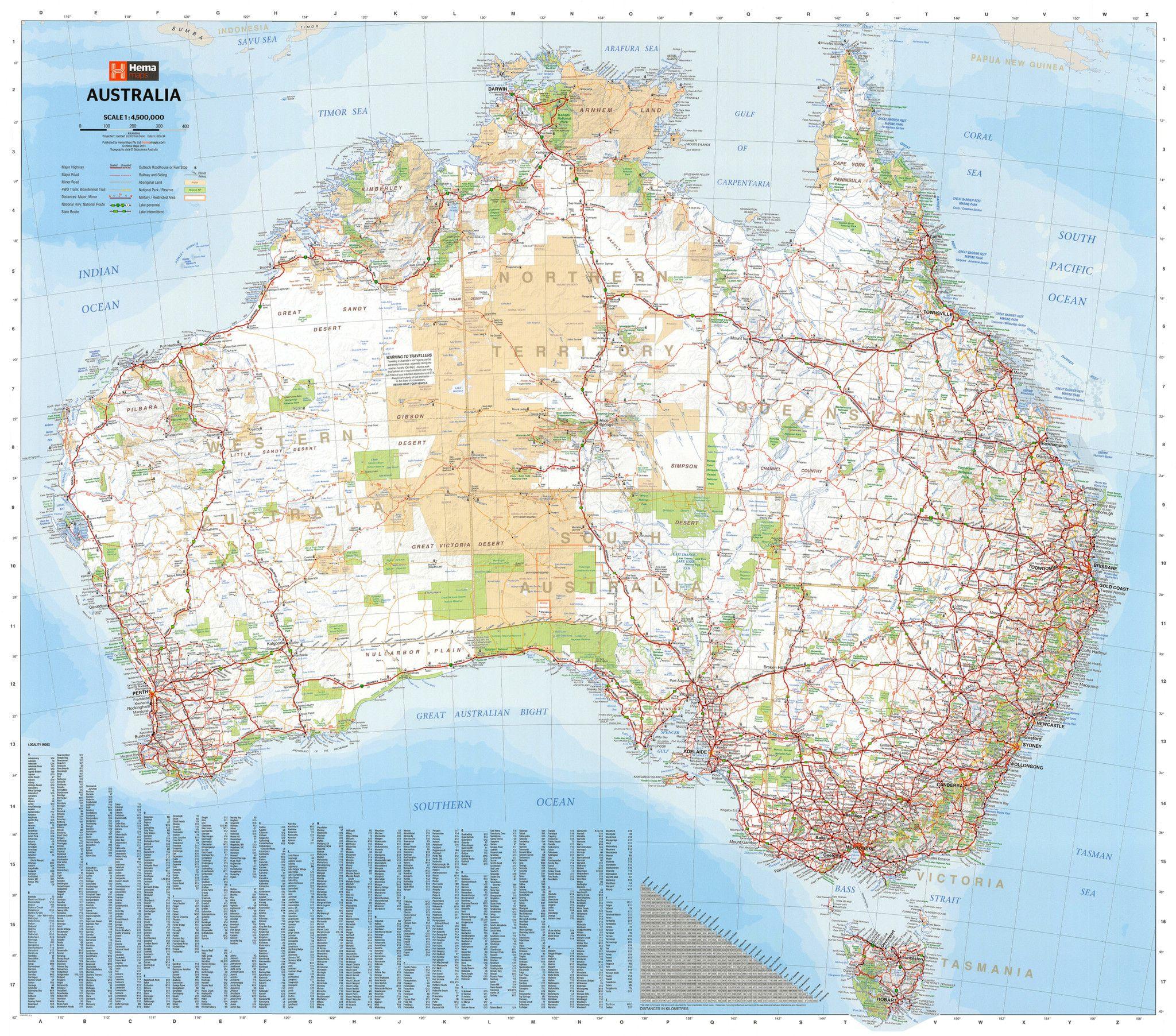 Australia Hema 1220 X 1067mm Supermap Laminated Wall Map ...