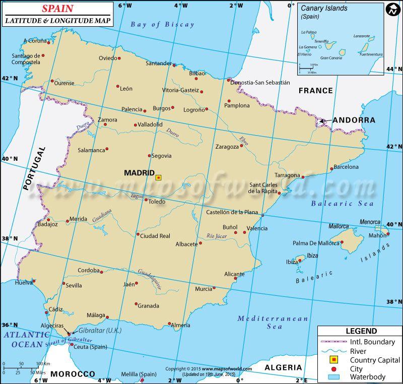 Spain Latitude And Longitude Map Passive Solar HTM Home Pinterest - Latitude and longitude of france