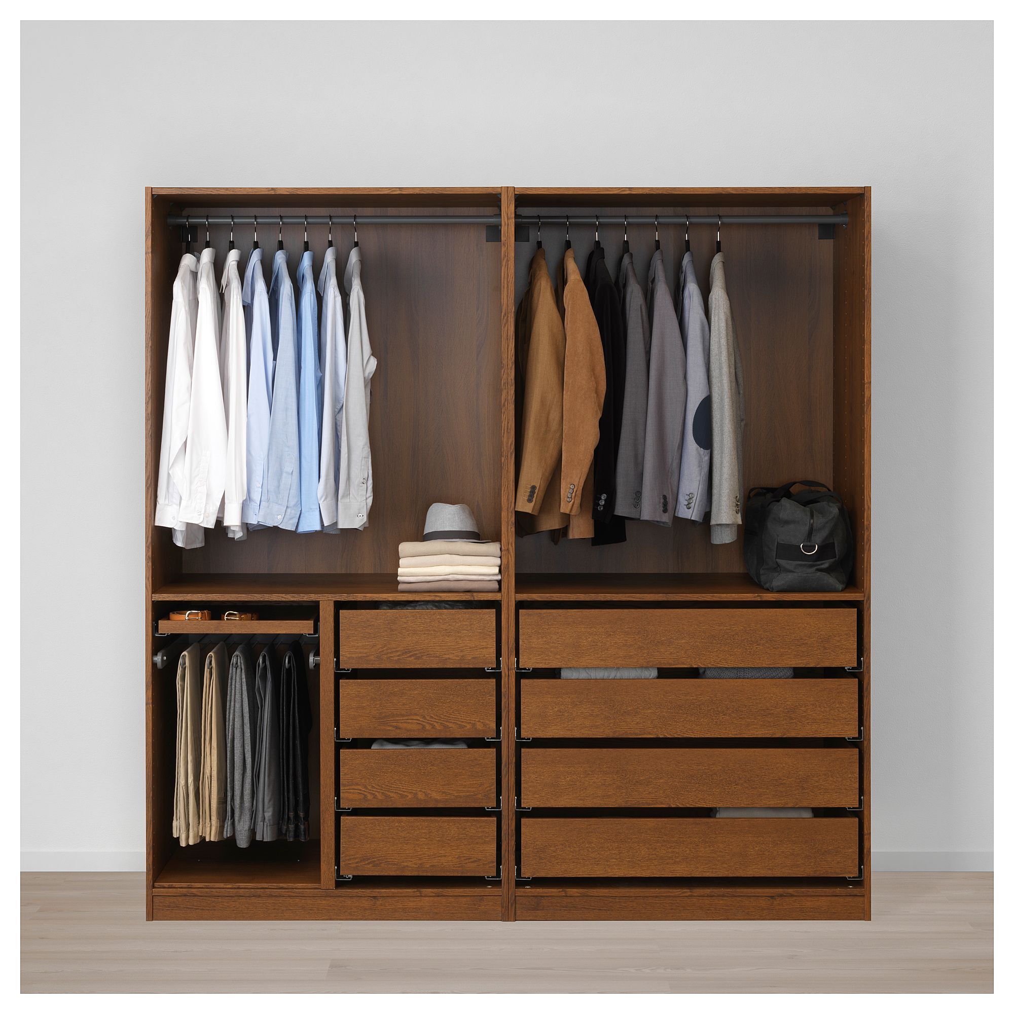 IKEA PAX Wardrobe brown stained ash effect, Uggdal gray