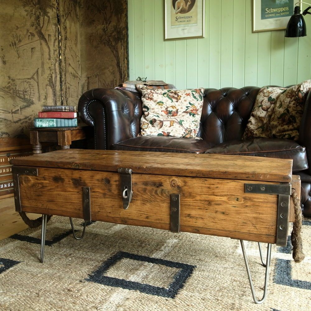Vintage military chest coffee table mid century industrial chest