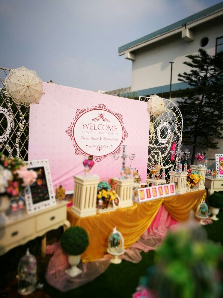 Pink and Gold fairy tale birthday party theme decoration setup
