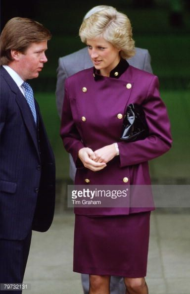 APRIL 14: Diana, Princess of Wales with bodyguard Ken Wharfe in St Albans