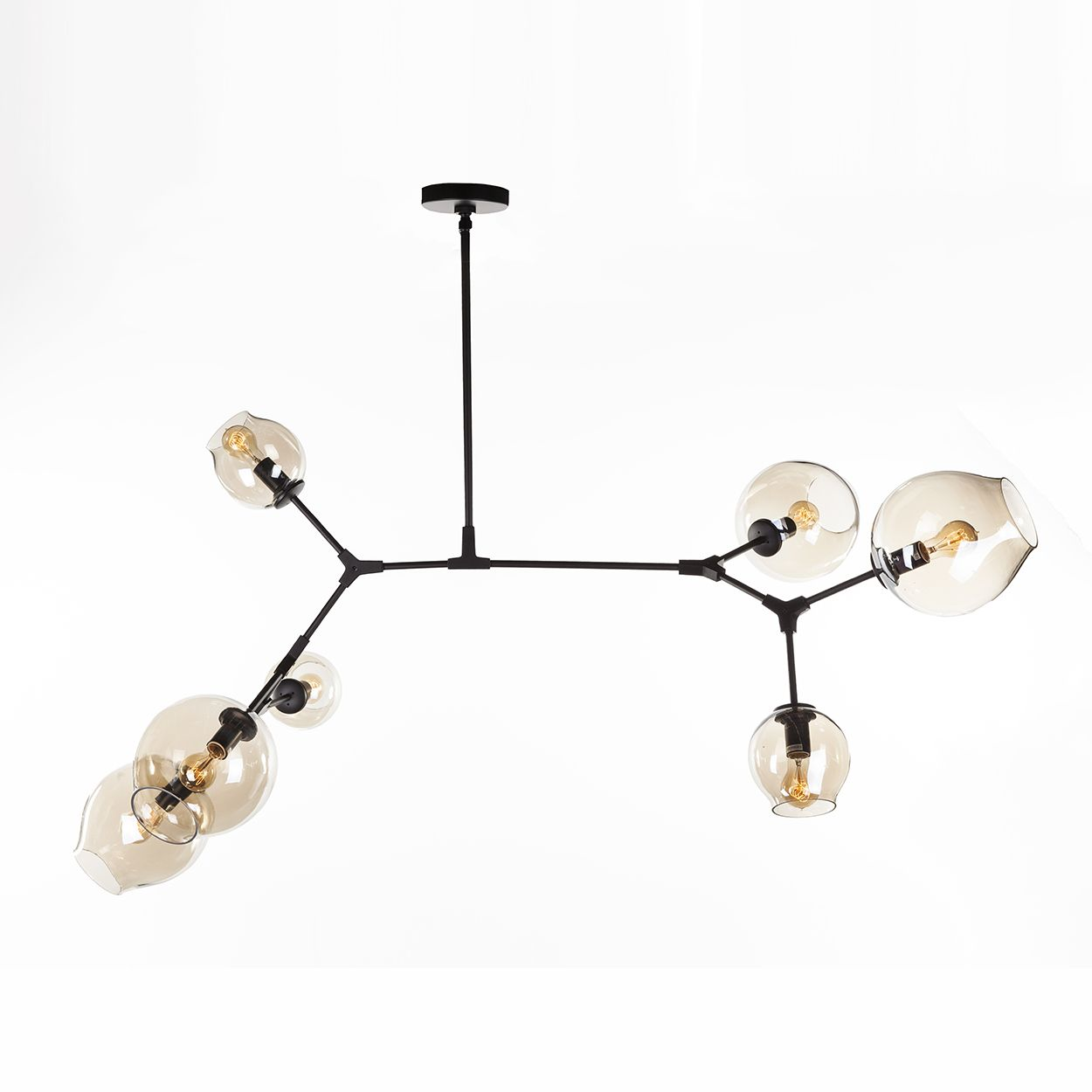 Seven globe branching ceiling lamp black chandeliers for Mid century modern globe pendant light