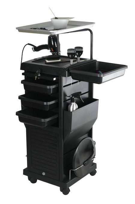 Chromatique Pro Lockable Rollabout Station Trolley With Tray 100d Hair Salon Furniture Home Hair Salons Hair Salon Stations