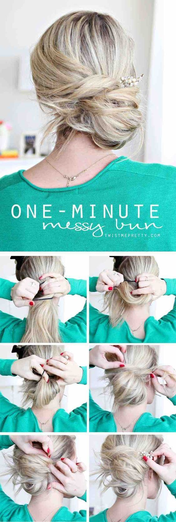 Easy hairstyles for work one minute messy bun quick and easy