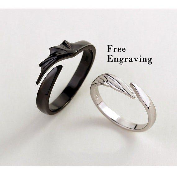 Angels Vs Devils Matching Couples Ring Set Promise Rings For Couples Matching Couple Rings Couples Ring Set Promise Rings For Couples