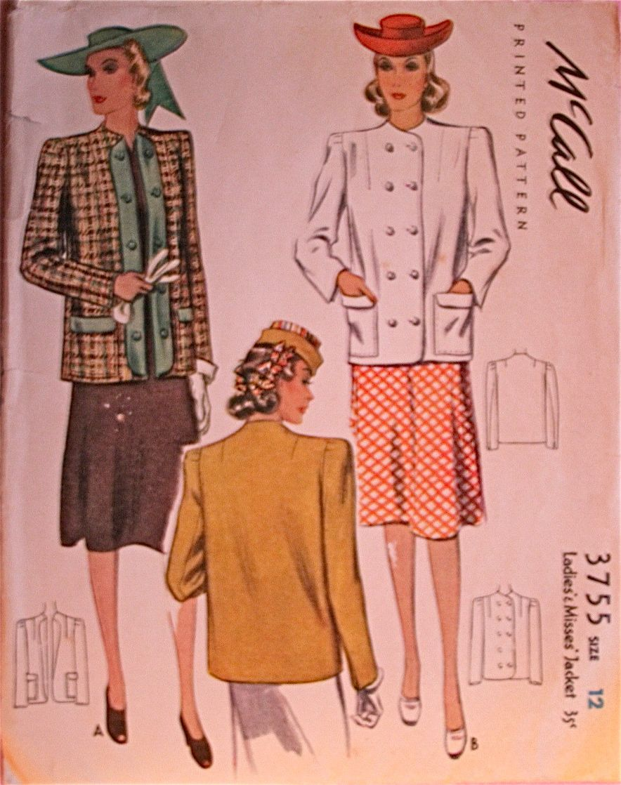 McCall 3755: Ladies\' and misses\' jacket | 40s | Pinterest