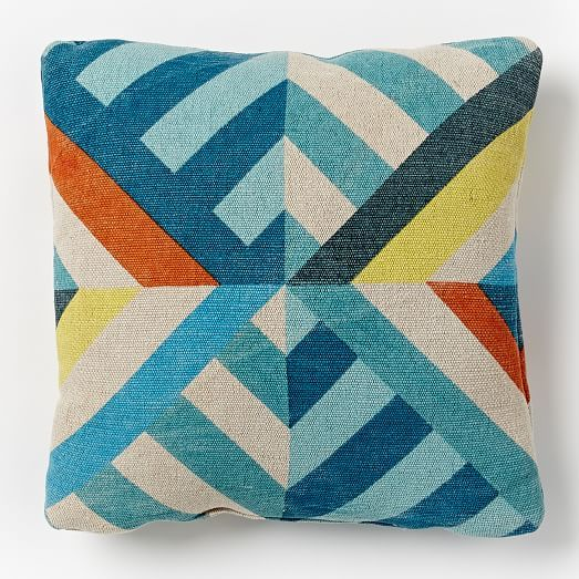 triangle stripes indoor outdoor pillow blue teal pillows indoor