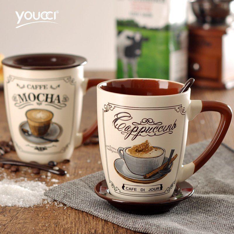CUPS WALLPAPER BORDER HOT DRINKS-CAFE LOOK MUGS