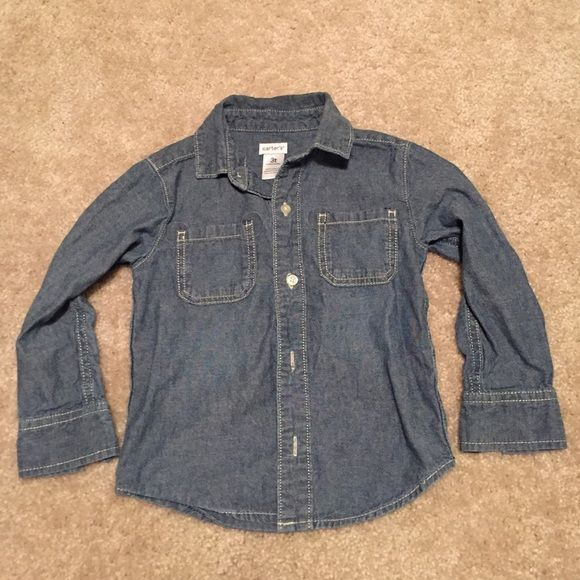 Carter unisex jean shirt size 3T Gently worn unisex Jean shirt with white stitching. %100 Cotten. Pet/smoke free home. Carters Other