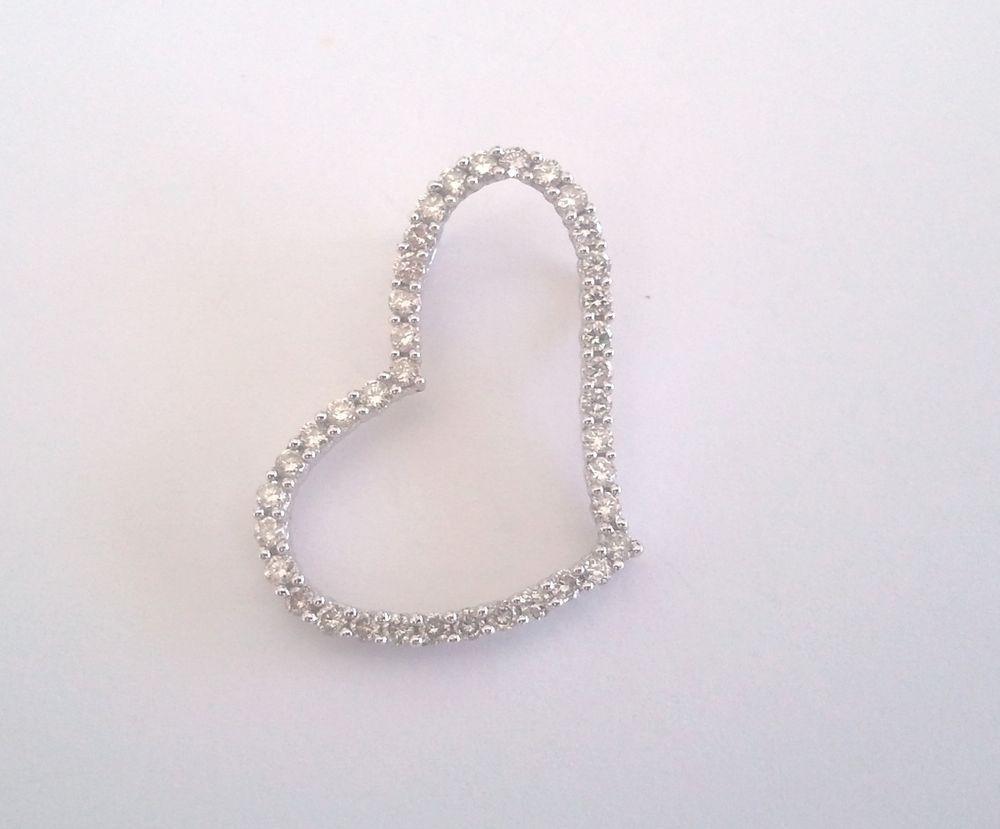 10k 10kt white gold heart pendant 12 carat of diamonds necklace 10k 10kt white gold heart pendant 12 carat of diamonds necklace slide charm aloadofball Choice Image
