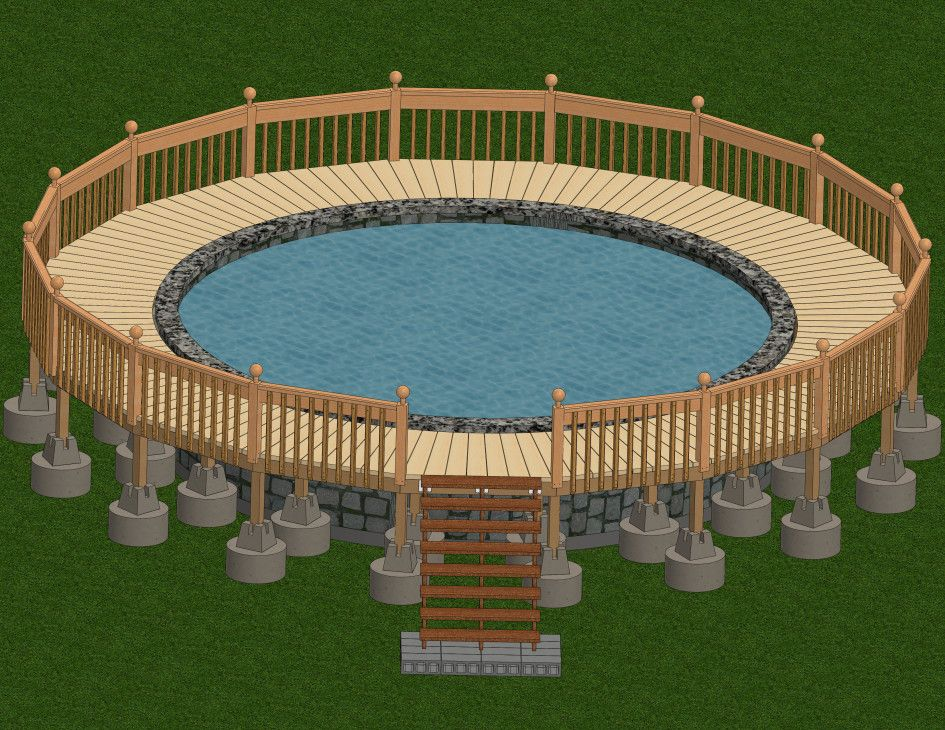Marvelous Round Pool Deck Plan with Wooden Pool Deck Framing Plans ...