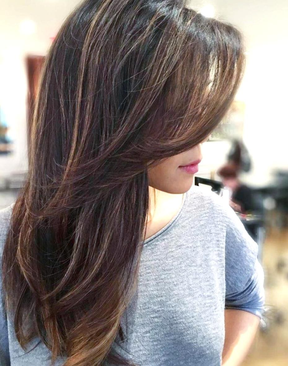 Side Swept Bangs With Long Layers Hairstyle In 2020 Side Bangs Hairstyles Long Layered Haircuts Haircuts For Long Hair