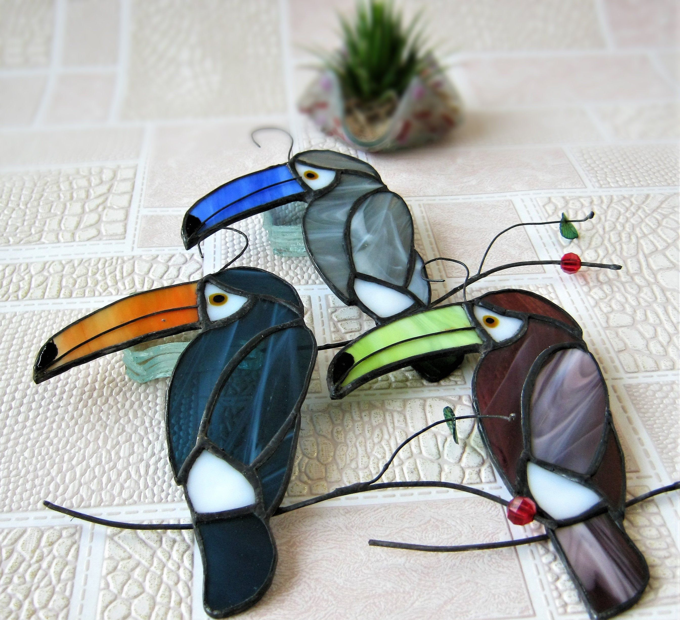 Pink Toucan Tropical Fused Glass Necklace