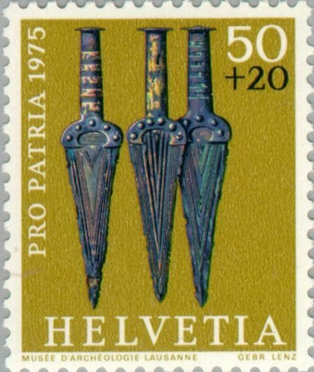 Sello: Bronze solid-hilted daggers (18-16th Cty. BC) (Suiza) (Pro Patria - Water Mills Conservation) Mi:CH 1055,Yt:CH 985,Zum:CH B168