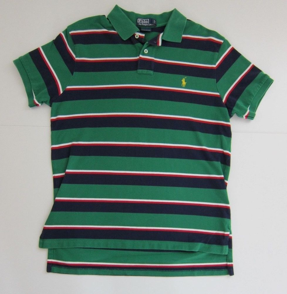 Ralph Lauren Polo Custom Fit Red White Blue Green Stripe Rugby Shirt Size L