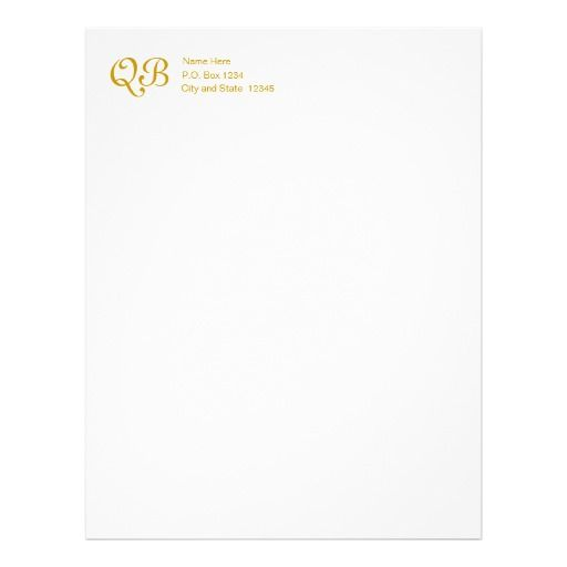Gold Monogram with Name and Address (A) Letterhead Template - name and address template