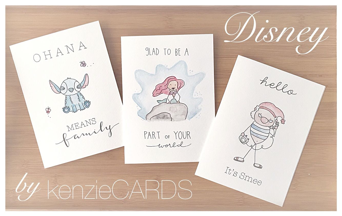 Disney Greeting Collection By Kenziecards Watercolour Handmade Handpainted Punny Pun Magical Swe Birthday Card Drawing Birthday Card Puns Disney Cards