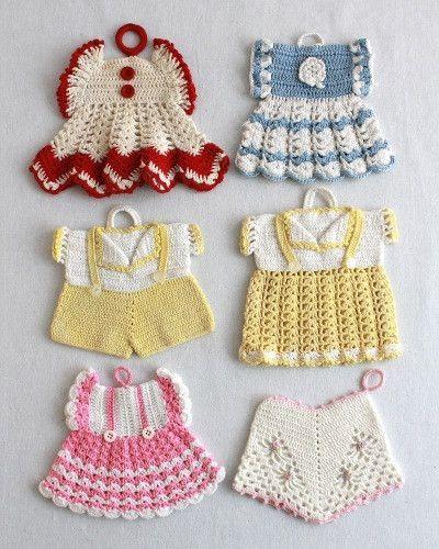 Vintage Fashion Potholder Crochet Patterns | Topflappen, gehäkelte ...