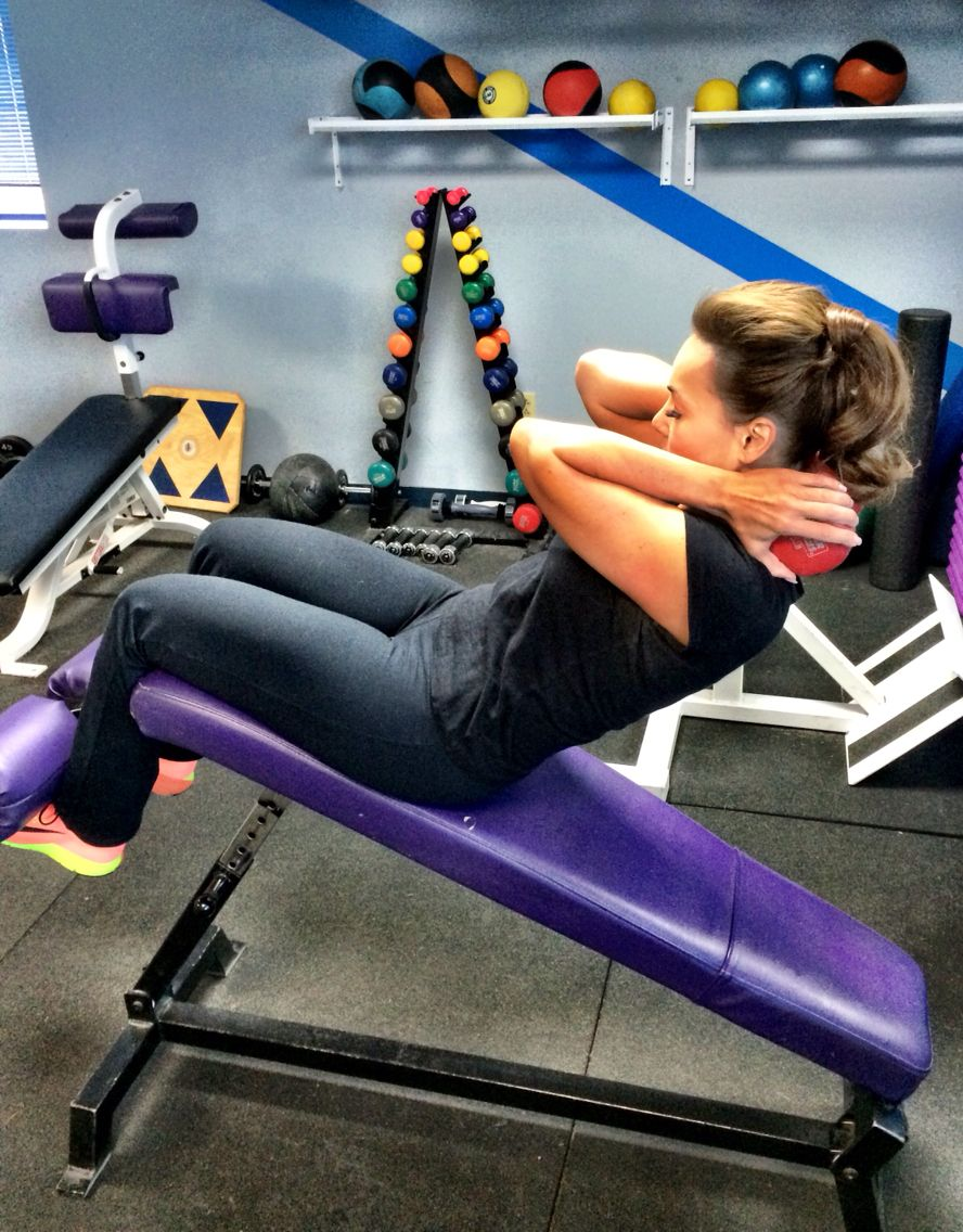 2a. Hold a 15lb weight behind your neck. Sit on an incline bench with feet anchored, start as far back as possible, curl up really concentrating on the upper abdomen, return. 20 times, (yes 20 and it's not easy!) 1st circuit, 3 times