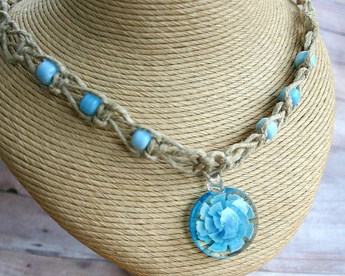 Hemp necklace with glass beads and glass flower pendant crafts hemp necklace with glass beads and glass flower pendant aloadofball Images