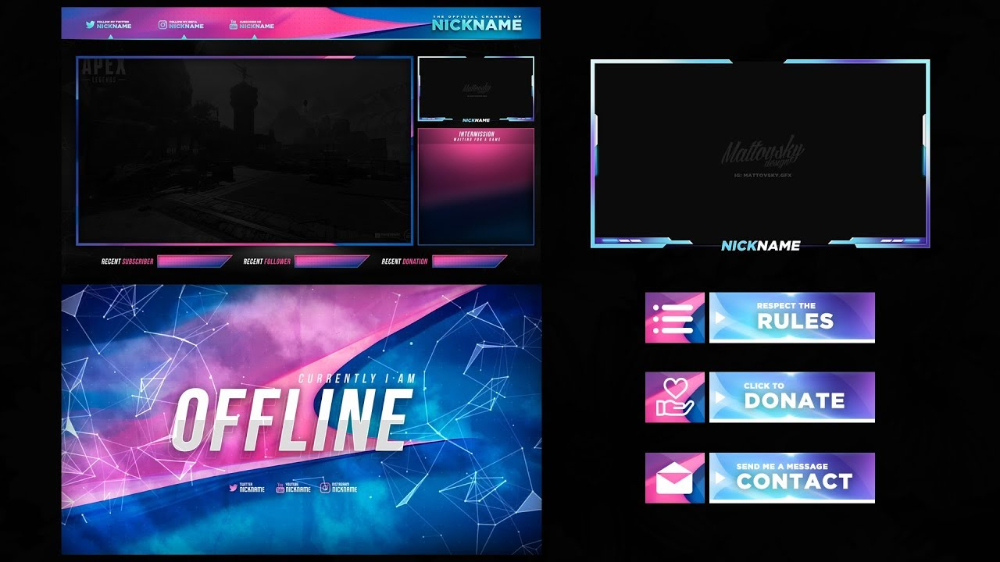 TWITCH STREAM OVERLAY TEMPLATE 2019 (With images