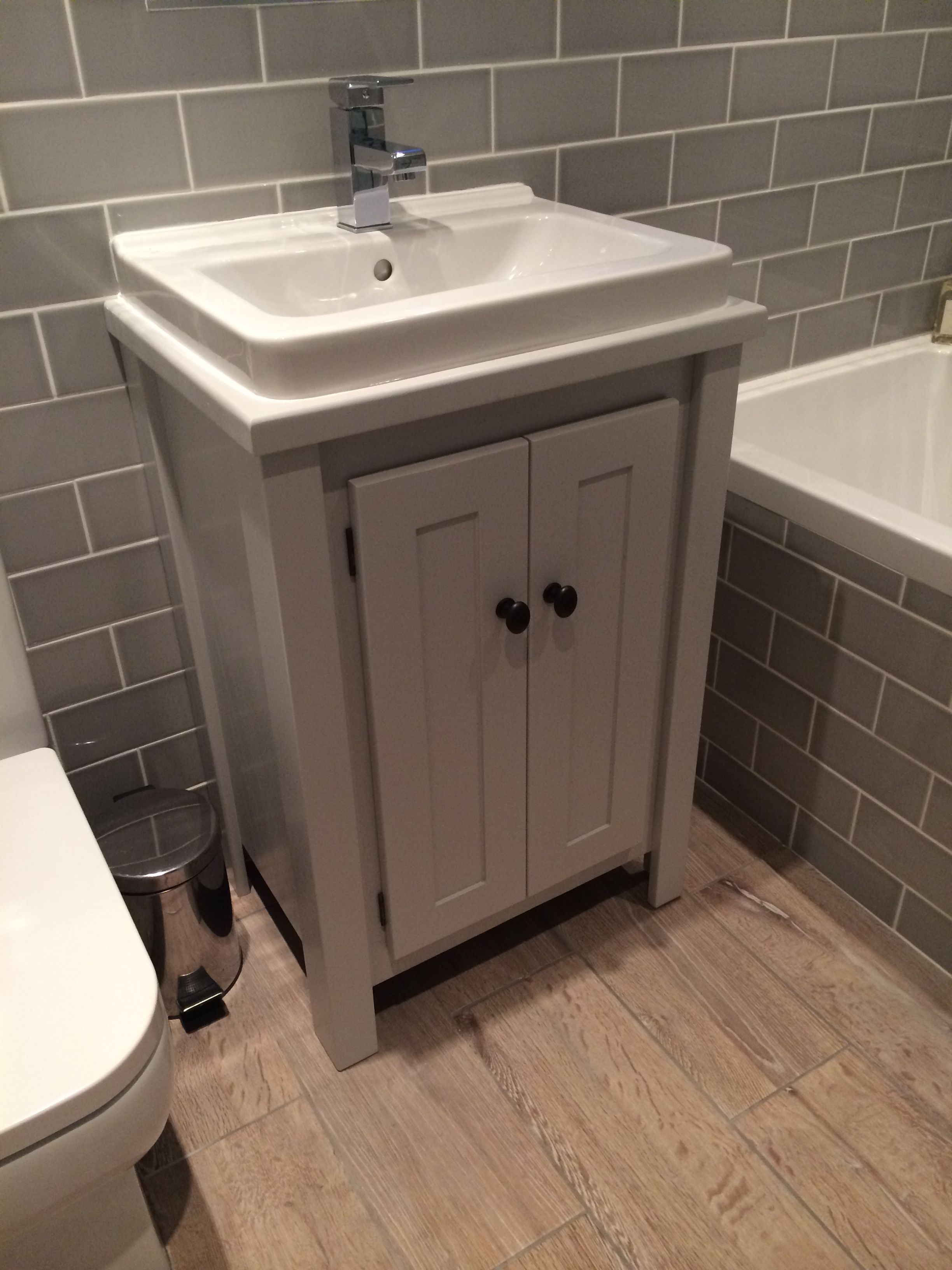 Bespoke Vanity Unit In Farrow Ball Pavillion Grey With White Marble Top Aspenn Furniture