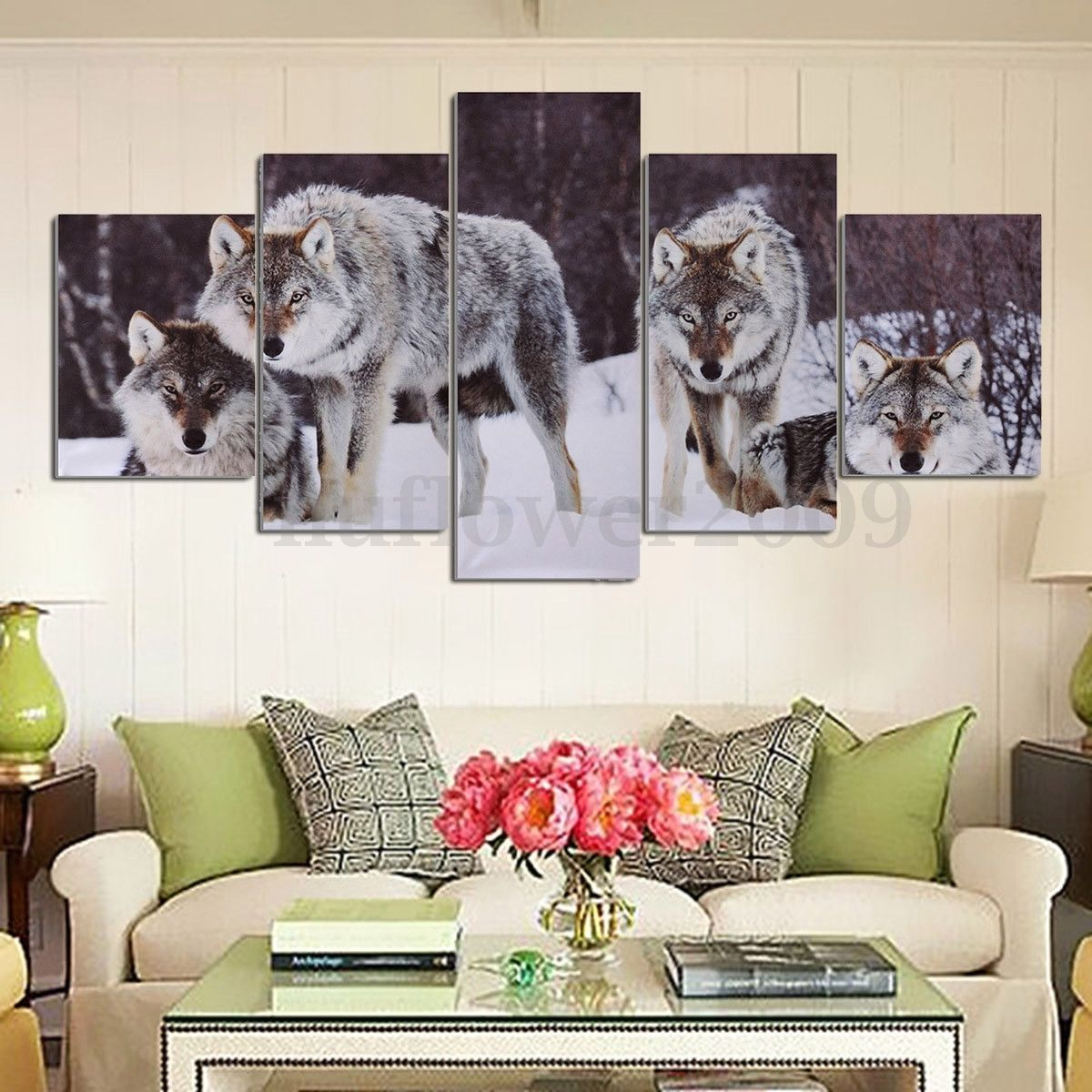 Wall Decor And More 5pcs wolf snowfield canvas picture modern art unframed painting