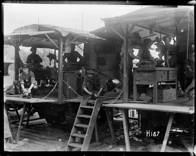 The New Zealand Division's car repair workshops in France, World War I, 3 August 1917. Photo by Henry Armytage Sanders.