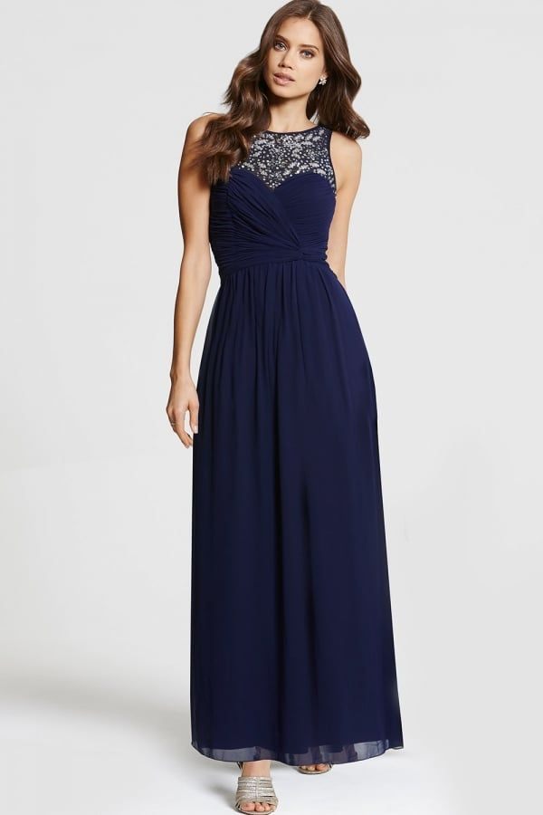 Little mistress navy embellished maxi dress little for Navy blue maxi dress for wedding
