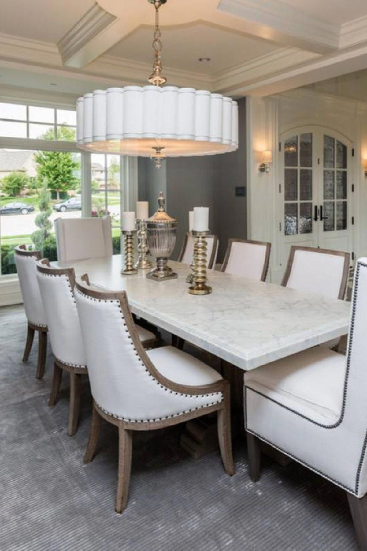 Traditional Formal White Dining Room With Marble Dining Table