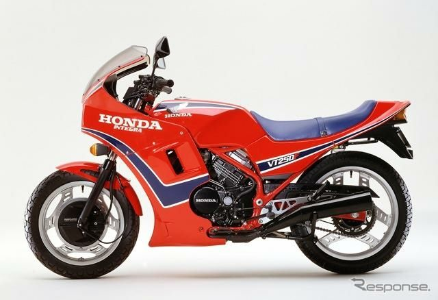 Honda VT250f2d = Vtwin 250 cubic centermetres per cylander, model 2d. 1983, known as Integra in the USA