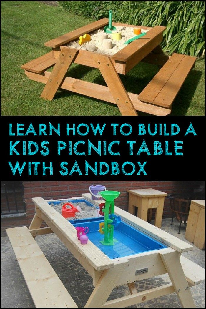 how to build a kids picnic table and sandbox combo household builds kids picnic table kids. Black Bedroom Furniture Sets. Home Design Ideas