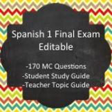 spanish 1 final exam editable question bank with student study rh pinterest com spanish 1 final exam study guide answer key spanish 2 semester 1 final exam study guide