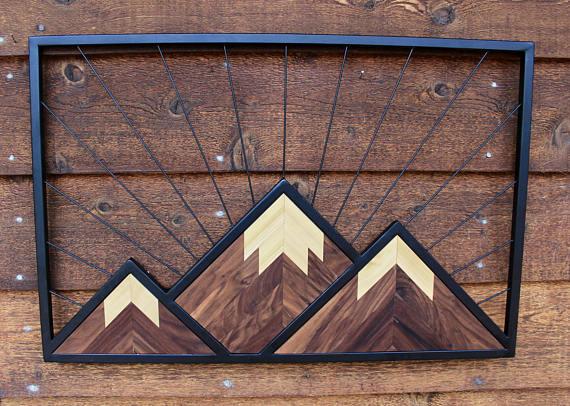 Wood And Metal Geometric Mountain Wall Decor 24 X 36 Steel Modern Art Metal Mountains I Mountain Wall Art Mountain Wall Decor Steampunk Decor