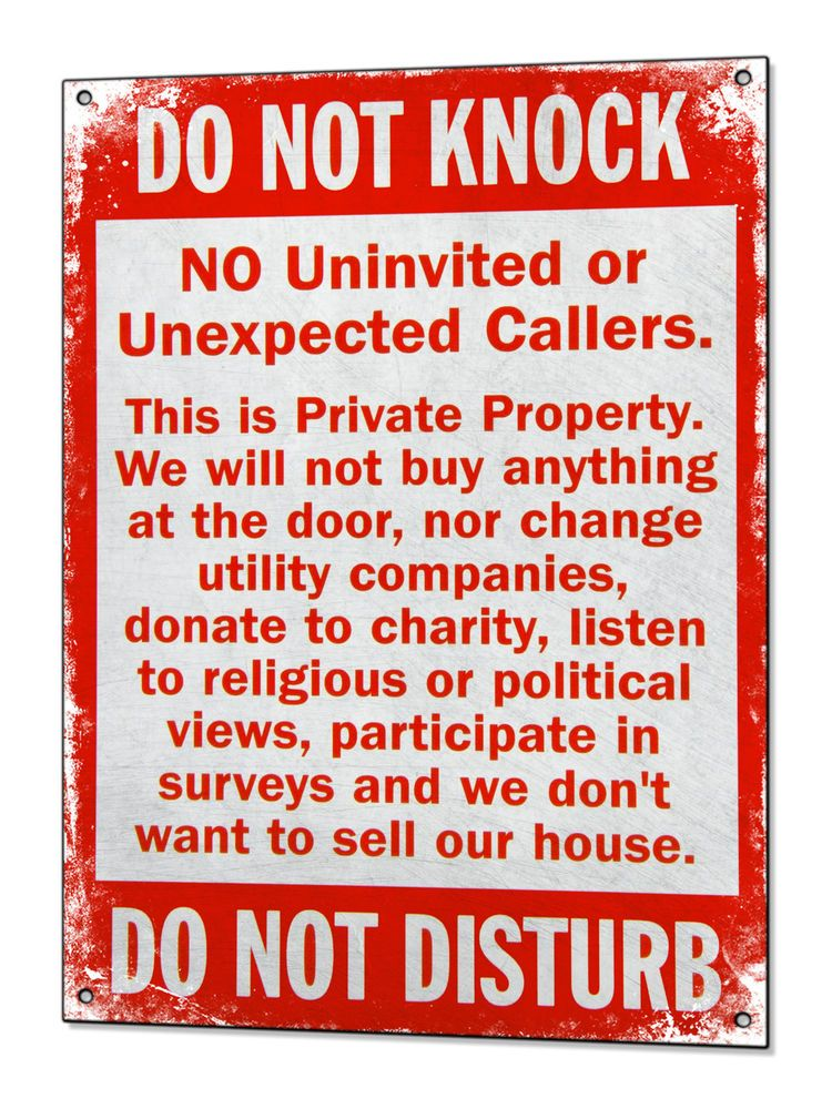 No Cold Callers Metal Sign Canvassers No Soliciting Tin