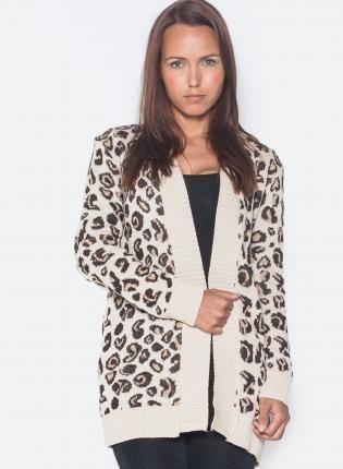 Cheetah Print Oversized Open Cardigan, Sweater, animal print long ...