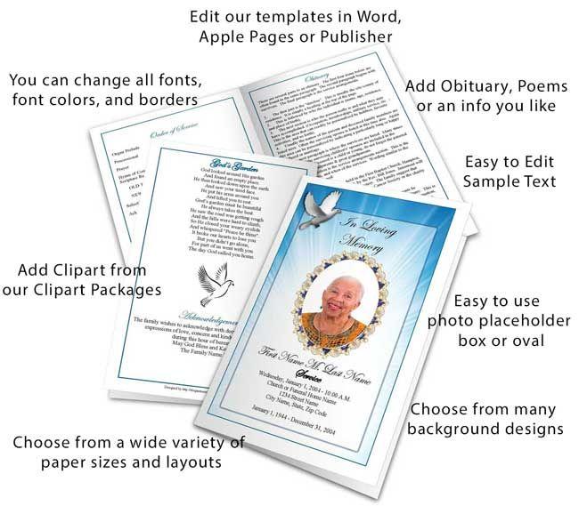 funeral program template elements Poems Pinterest Program