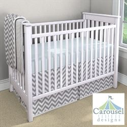 LIght Blue Sheets with Gray Chevron Skirt...I need a house so I can get a room going for baby!!