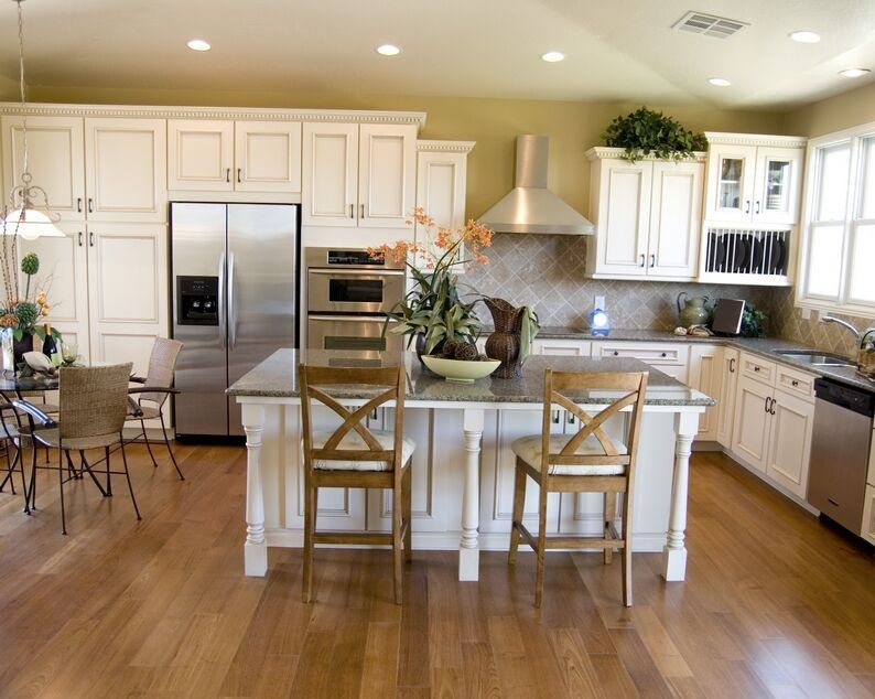 Kitchen Wood Flooring Ideas Part - 42: Kitchen: - Love The Floors. Awesome White Kitchen Cabinets Wooden Floor  Bench Woven Rattan