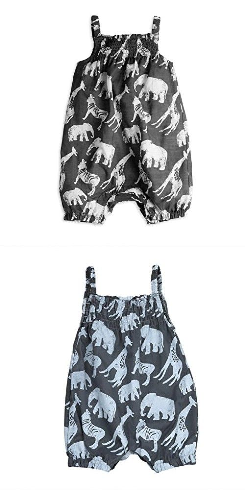 TIFENNY Baby Girl Animals Printed Sleeveless Romper Clothes (12/18M, Gray)