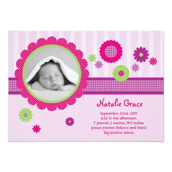 show your loved ones your newborn with this flowers baby girl photo birth announcement colorful and fun birth announcement for a girl