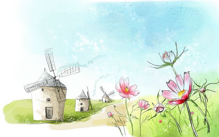 Sanat Cizim Seasons Romantik Sahne Romantik Ilkbahar Saha Resimde Boya 7 Windmill Flower Art Drawing Drawing Wallpaper Painting