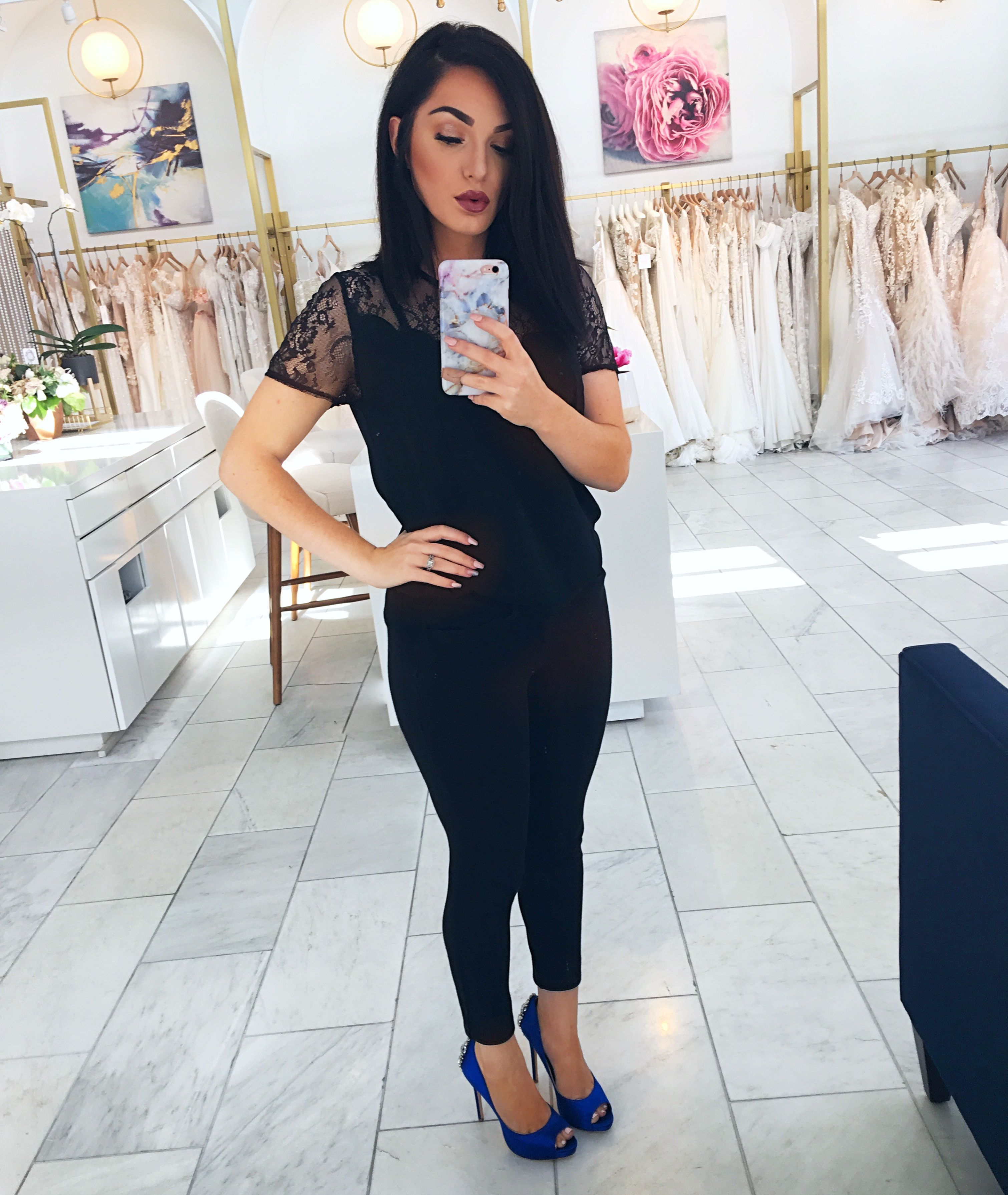Black Outfit with Blue Badgley Mischka