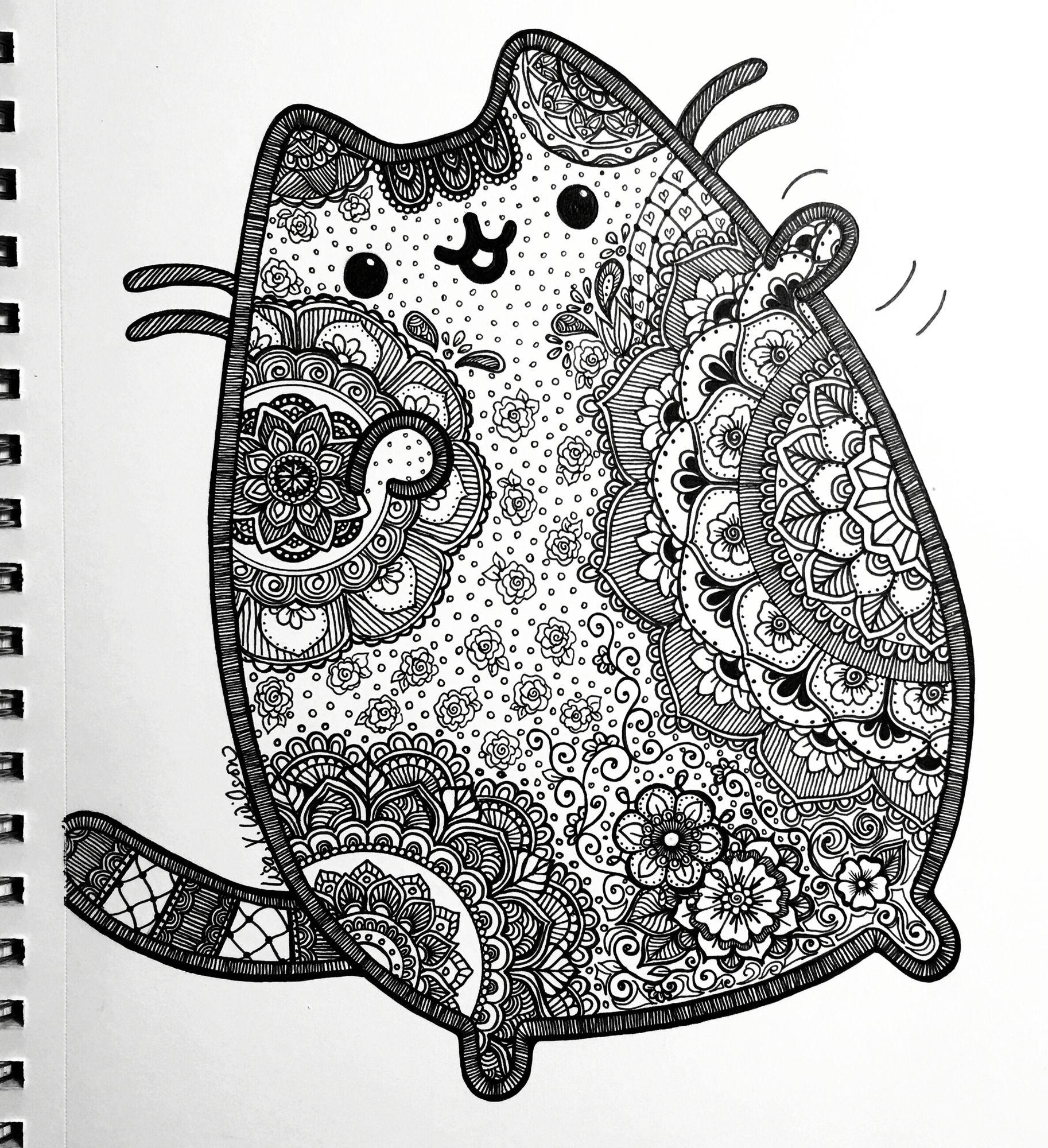 Pusheen inspired coloring page pusheen pinterest pusheen
