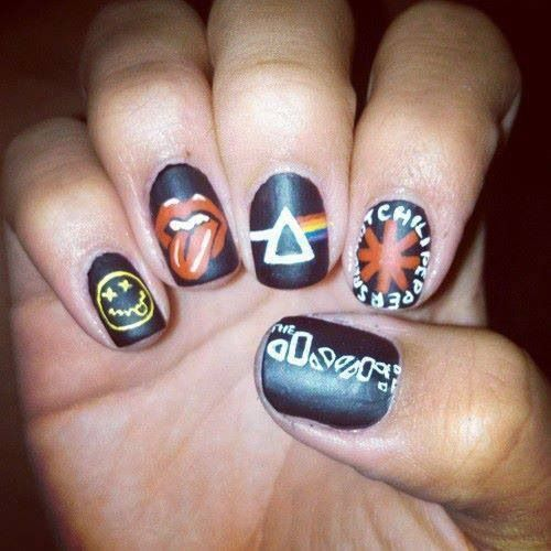 Classic rock nail art
