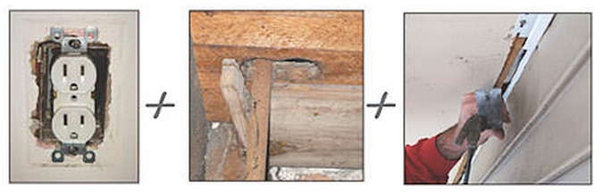 Gaps in your home can be small, such as the ones found around an electrical outlet in an exterior wall. However, large openings are also common, such as the ones created by plumbers in floors and framing as they install pipes, or the long gaps like the one created when a cantilever soffit does not meet the exterior wall in an airtight connection.