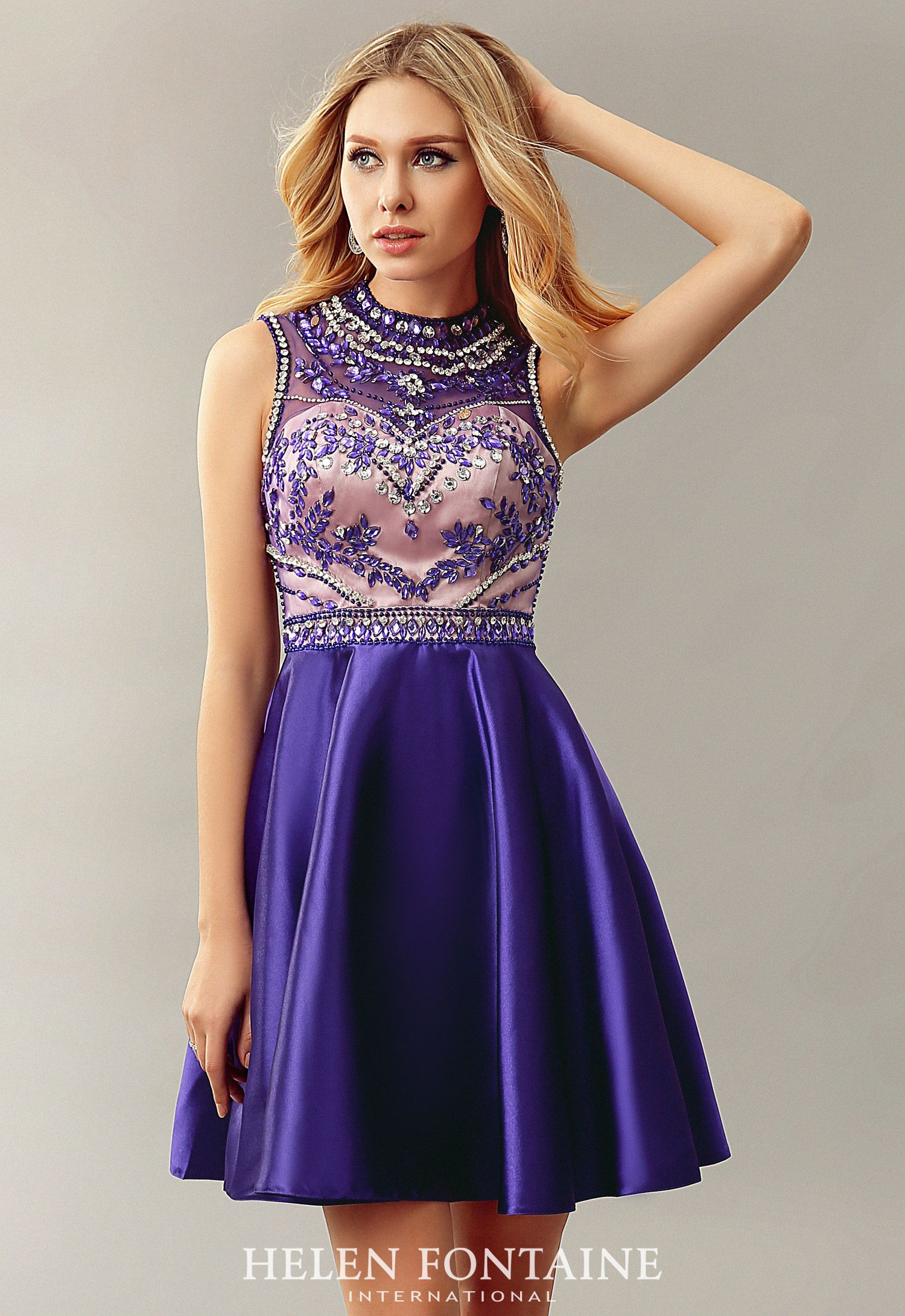 Sexy open back beaded satin purple short cocktail dresses knee